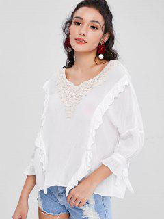 Crochet Flower Applique Ruffle Boho Blouse - White M