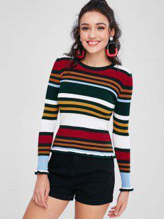 Bunter Gestreifter Gerippter Pullover - Multi