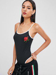 Applique Snap-button Gusset Bodysuit - Black S