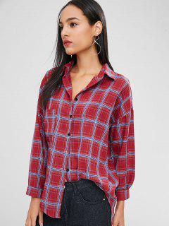Buttoned Plaid High Low Shirt - Red Wine L
