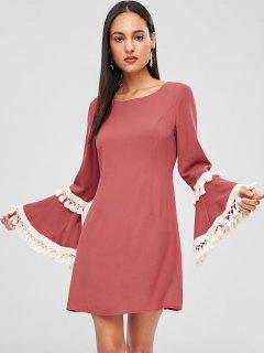 Tassels Bell Sleeve Mini Dress - Light Coral L