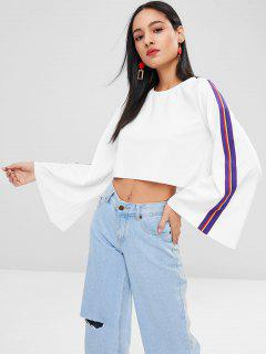 Cropped Stripes Flare Sleeve Top - White M