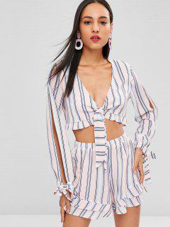 Tie Front Stripes Top And Shorts Set - Multi M