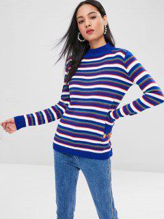 Striped Mock Neck Sweater - Blueberry Blue L