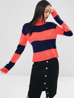 Zweifarbiger High Neck Pullover - Schockierendes Orange L
