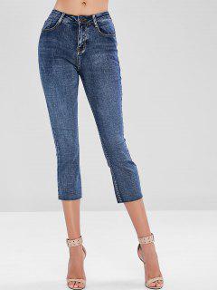 Raw Hem Faded Boyfriend Jeans - Blue S