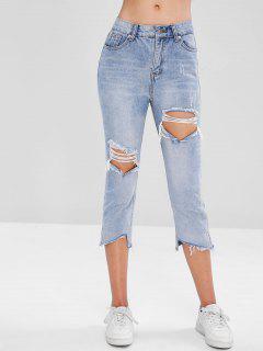 Frayed Hem Cut Out Jeans - Denim Blue L