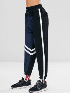 Striped Patched Color Block Pants - Dark Slate Blue