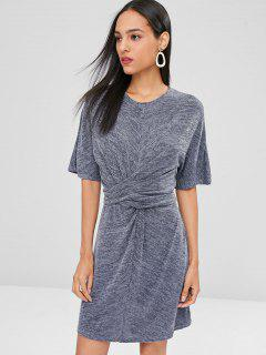 Half Sleeves Knotted Dress - Slate Gray