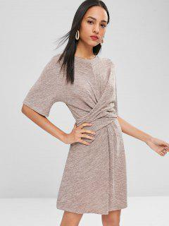 Half Sleeves Knotted Dress - Rosy Brown