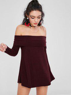 Off Shoulder Ribbed Sweater Dress - Red Wine S