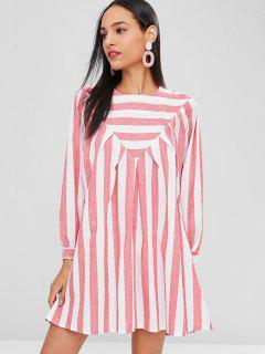 Striped Tunic Mini Dress - Cherry Red L