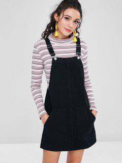 Pockets Denim Pinafore Dungaree Dress - Black Xs