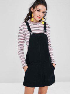 Pockets Denim Pinafore Dungaree Dress - Black L