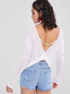 Cut Out Back See Through Tee - White