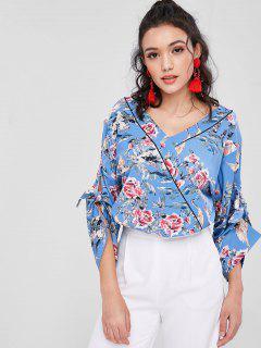 Blusa De Kimono Floral Manga Tie - Azul M