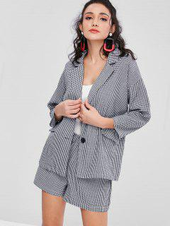 Buttoned Gingham Blazer Shorts Set - Black
