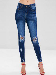 Frayed Hem Distressed Jeans - Lapis Blue L
