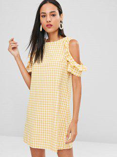 Gingham Frilled Cold Shoulder Dress - Goldenrod M