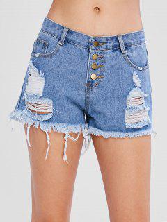 Pantalones Cortos De Jean Con Volantes De Botón Apenado - Azul Acero Ligero M