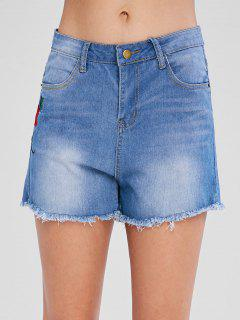 Floral Embroidered Denim Shorts - Light Steel Blue L