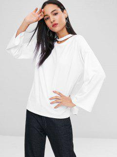 Long Sleeve Choker T-shirt - White L