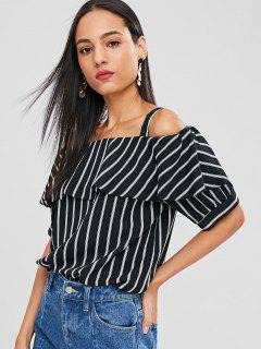 Striped Flounce Cold Shoulder Blouse - Black M