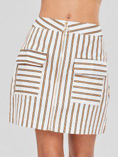 Front Zip Striped Skirt - White L