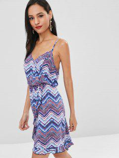 Wavy Stripe Cami Faux Wrap Dress - Multi M