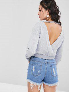 Cut Out Cropped Sweatshirt - Light Gray M