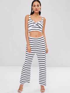 Striped Tie Front Top And Pants Set - White L