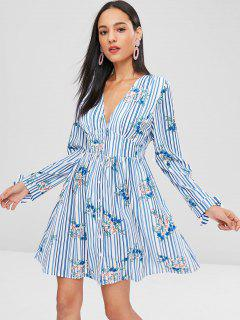 Button Up Striped Floral Dress - Multi L