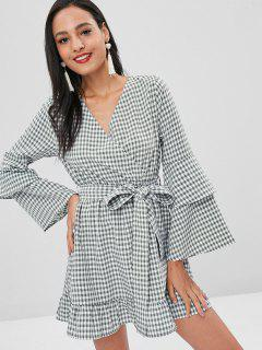 Gingham Ruffles Surplice Dress - Dark Sea Green S