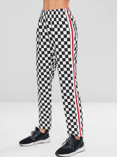 Checkerboard Straight Leg High Waisted Pants - Multi L