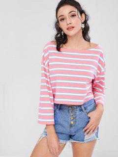 Camiseta De Rayas Recortadas - Rosado L