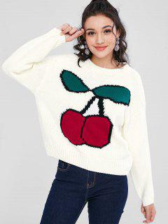 Cherry Jacquard Graphic Oversized Sweater - White S