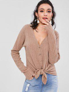 Ribbed Button Through V Neck Cardigan - Brown S