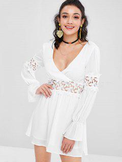 Lace Panel Cut Out Dress - White L