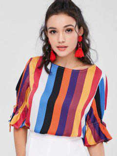 Colorful Striped Flare Sleeve Blouse - Multi M