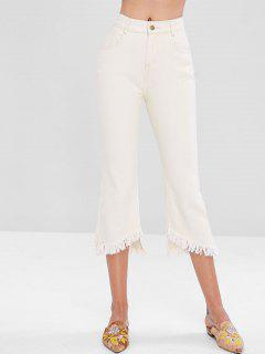 Frayed Uneven Hem Flare Jeans - Warm White M
