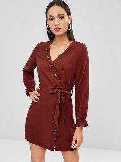 Side Button Belted Long Sleeve Dress - Chestnut Red L