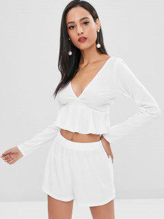 Ruffles Low Cut Shorts Set - White S