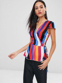 Wrap Colorful Striped Blouse - Multi M