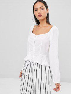 Long Sleeve Square Neck Peplum Blouse - White L