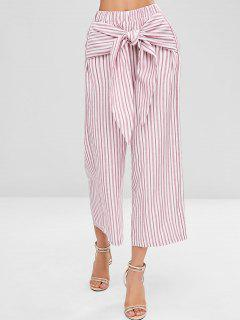 Knot Striped Wide Leg Pants - Pig Pink M