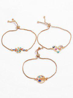 Hollow Heart Eye Design Bracelets Set - Gold