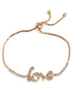Adjustable Lover Deisgn Rhinestone Bracelet - Gold