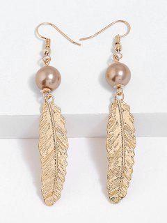 Feathers Designed Drop Hook Earrings - Gold