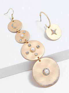 Rhinestone Fake Pearl Asymmetric Earrings - Gold