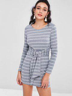Striped Knot Long Sleeve Knitted Dress - Gray M